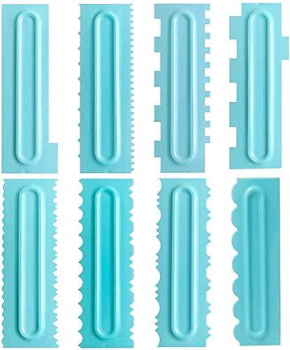 8 piezas de raspador de pasteles, herramienta de decoración de pasteles, peine para pasteles, herramienta de glaseado, raspador de pasta de pastel, raspador de plástico de seguridad, sin BPA