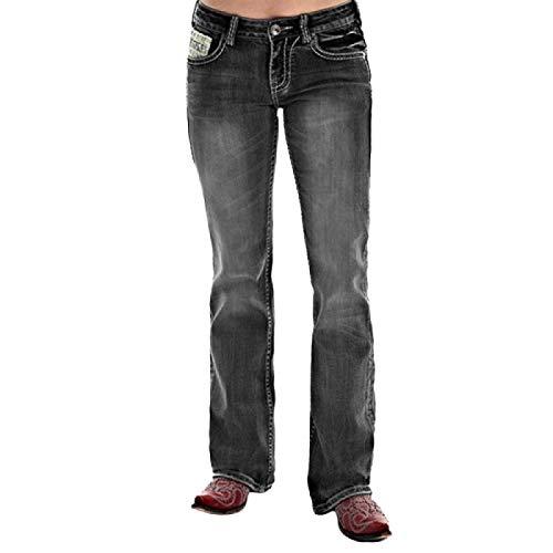 Pantalones Vaqueros de Pierna Recta Desgastados elásticos de Cintura Media para Mujer Pantalones de Mezclilla de Pierna Ancha relajados con Botones Retro de Resistencia de Ocio Diario XS