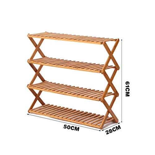 Zapatero Estante for zapatos Ahorro de espacio Estante simple de gabinete de zapatos de madera sólida de múltiples capas a prueba de polvo Tipo económico Dormitorio ( Color : 4 layers , Size : 50cm )