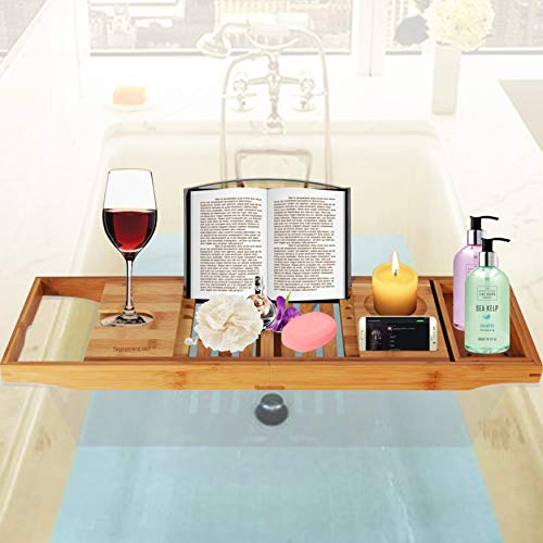 Luxury Bamboo Bathtub Caddy Tray - Adjustable Natural Wood Bath Tub Organizer with Wine Holder, Cup Placement, Soap Dish, Book Space & Phone Slot for...
