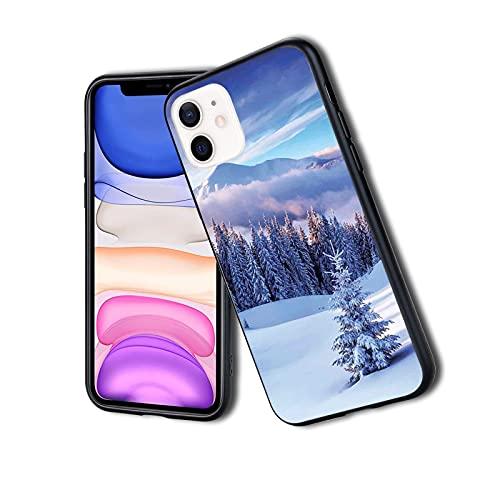 Funda protectora híbrida a prueba de golpes, diseño de paisaje de invierno surrealista con picos de montaña y pinos nevados, apto para iPhone 11Pro Max, para mujeres y niñas