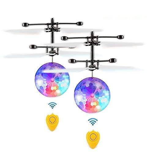 Fansteck 2 Pack RC Fliegender Ball mit Fernbedienung, LED RC Flugzeug Helikopter mit Handsensor Infrarot Mini Hubschrauber Fliegendes Spielzeug, Flying Ball für Kinder und Erwachsene