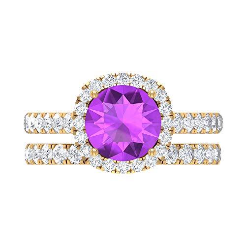 Rosec Jewels 14 quilates oro amarillo redonda round-brilliant-shape H-I Purple Diamond Creado en laboratorio de kunzita