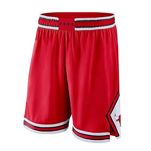 YSPORT Fans Basketball-Shorts - - Chicago Bulls Trainingsshorts Gesticktes Netz Atmungsaktiv Und Schnell Trocknend Swingman Unisex (Color : Red, Size : S)