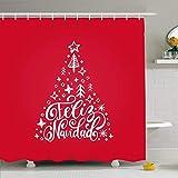 Set de cortina de ducha Ahawoso con ganchos rojo o estrella de saludo Feliz traducido al español plantilla Merry Translate texturas navideñas vacaciones tela de poliéster impermeable baño decoración p