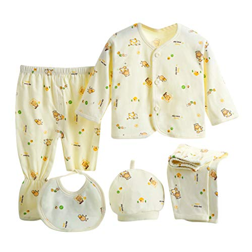 0-3 Months Baby Girl Boy Clothes,5PCS Newborn Baby Boy Girl Cartoon Long Sleeve Tops+Hat+Pants +Bib Outfits Set Yellow