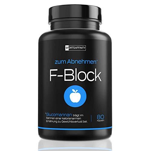 F-Block [Beliebt in der Diät] - Abnehmen Tabletten von Experten - Wirksam für Frauen und Männer » Appetitzügler zum Abnehm mit Glucomannan « F-Burn inkl. Ebook mit Fatburner Workout - 80 Kapseln