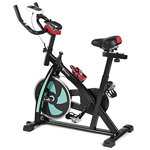 LightM Bicicleta de ejercicio, bicicletas estacionarias, resistencia ajustable, manillar y asiento. Monitor LCD y cómodo cojín de asiento