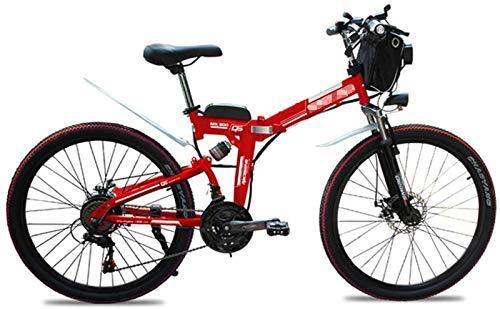 Bicicletas Eléctricas, Bicicletas plegables eléctricos for Adultos 26' E-bici de montaña 21 ligereza y velocidad de bicicletas, 500W aluminio bicicleta eléctrica con pedal for unisex y Adolescentes ,B