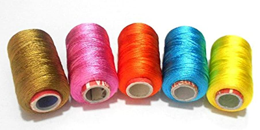 GOELX Silk Thread for Jewelery-Making 5 Spools - Golden,Baby Pink.Orange,Turquoise Blue,Mango Yellow