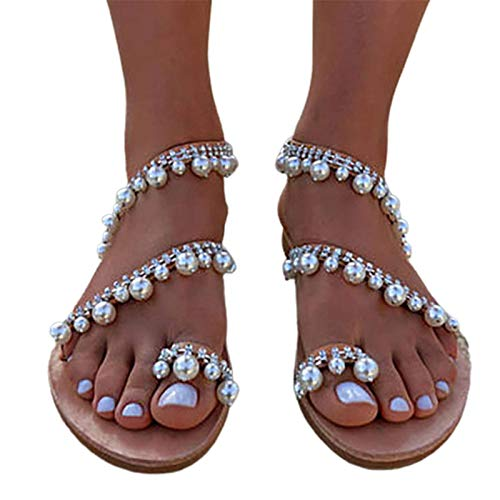 Dames platte sandalen, mode kunstmatige PU clip teen Romeinse sandalen, ademend en antislip, zomer instapper parel strand sandalen
