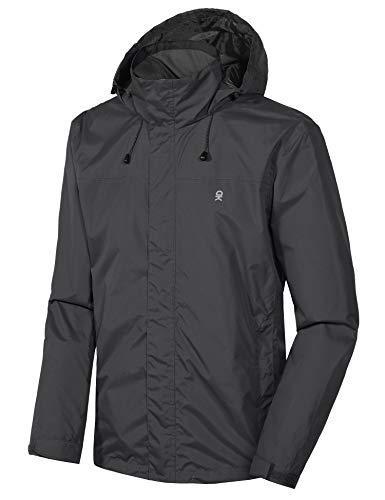 Little Donkey Andy Men's Waterproof Rain Jacket Outdoor Lightweight Rain Shell Coat for Hiking, Travel Black Size M
