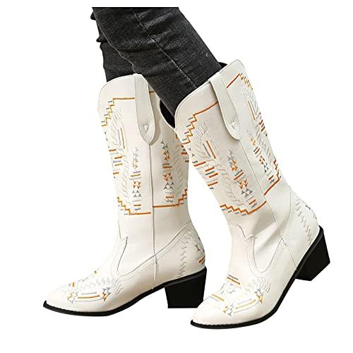 Binggong Botas de vaquero para mujer, bordadas, punta de punta, estilo retro, botas de cowboy para mujer, botas de piel para mujer con tacón grueso
