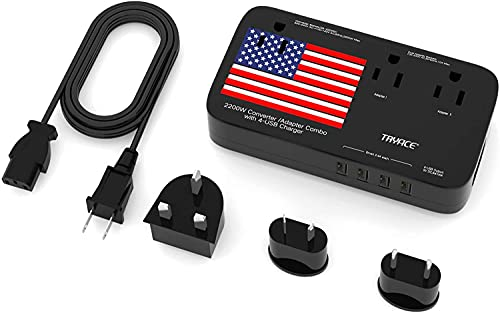 TryAce 2200W Exclusive Voltage Converter and 10A Travel Adapter with 4-Port USB,Power Converter Step Down 220V to 110V for Hair Dryer/Straightener/Curling Iron,US/UK/EU/AU Plug for 190+ Countries