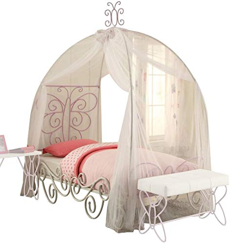 Acme Furniture 30535F Priya II Canopy Full Bed, White & Light Purple