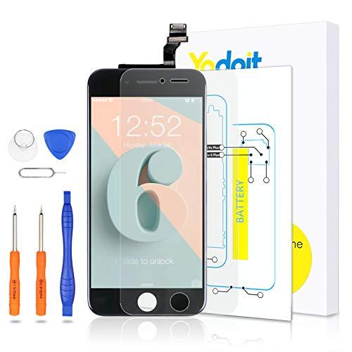 Yodoit para iPhone 6 Pantalla LCD Digitalizador Táctil de Cristal Reemplazo con Marco + Kit de Herramientas de Reparación (4.7 Pulgadas de Negro)