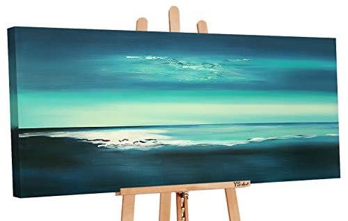 YS-Art | Cuadro Pintado a Mano Acrílico Brillo | Cuadro Moderno acrilico | 115x50 cm | Lienzo Pintado a Mano | Cuadros Dormitories | único | Azul