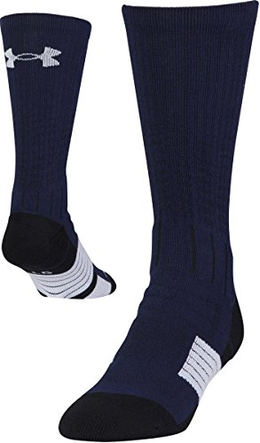 Under Armour Adult Unrivaled Crew Socks, 1-Pair, Midnight Navy/White, Shoe Size: Mens 8-12, Womens 9-12
