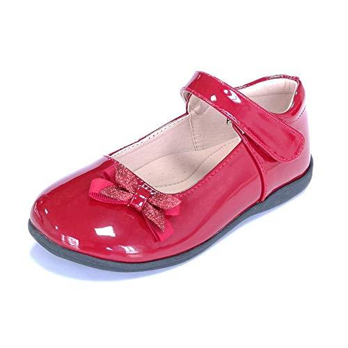 ALPHELIGANCE Kids Girls Strap School Uniform Dress Mary Jane Shoes Red