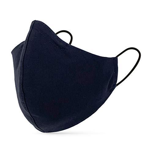 tanzmuster ® Behelfsmaske waschbar für Erwachsene - 100% Baumwolle OEKO-TEX 100 mit Nasenbügel und Filtertasche - Community Maske handmade und wiederverwendbar 2-lagig in schwarz Größe L Erwachsene