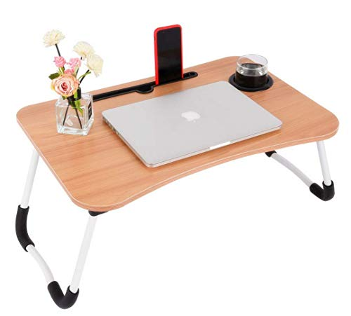 TS WITH TECHSUN Multi-Purpose Wooden Laptop Desk Table Stand/Study Table/Bed Table//Kids Activity Table/Writing Table with Dock Stand/Ergonomic & Rounded Edges/Non-Slip Legs/Engineered Wood/Color
