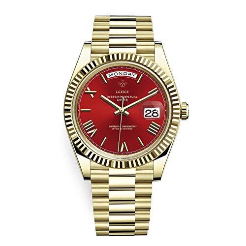 Armbanduhren Brand Watch Herren Top Roman Scale Herren Armbanduhr wasserdichte Day Date Uhr für Herren, Gold Red
