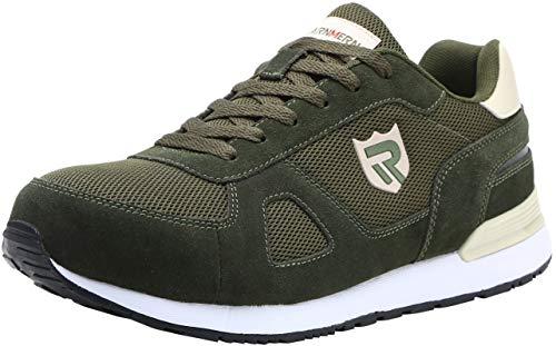 LARNMERN Scarpe Antinfortunistiche da Uomo, Punta in Acciaio Sneakers da Lavoro Leggere ed Eleganti (46 EU, Verde)