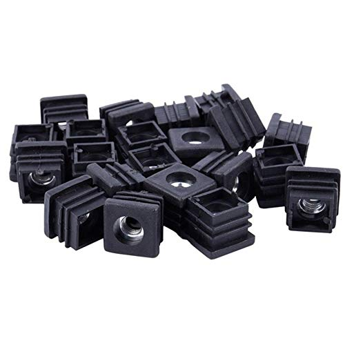 GJHGJ Tubería Cuadrada Tapas de Extremo de tubería Tapones de inserción Rosca M8 20x20mm 20 Piezas Negro-Negro