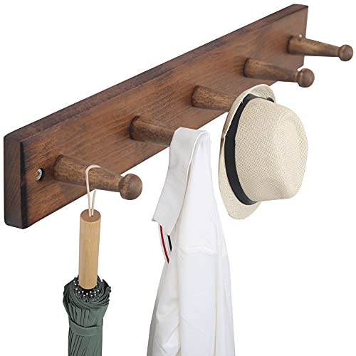 WEBI Coat Rack Wall Mounted Clothes Rack Wall Coat Hanger,Wood Coat Hooks Wall Mounted,Hat Rack for Wall,Peg Rack Rail,5 Hooks for Hanging Coats,Clothing,Purse,Jacket,Rustic Brown