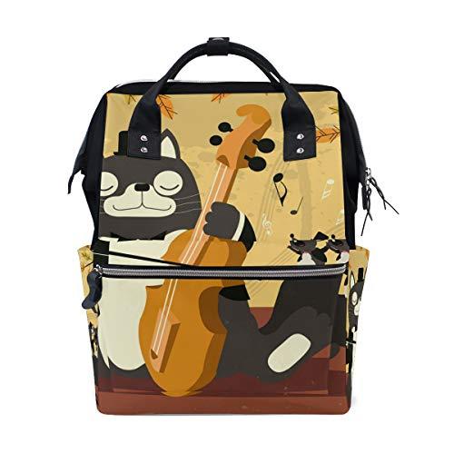 Alinlo Wickeltasche mit lustigem Katzen-Motiv für Violine und Mütter, große Kapazität, multifunktionaler Rucksack für Reisen