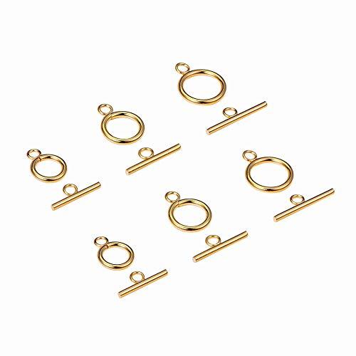 PandaHall Elite 15 juegos de 3 tamaños de acero inoxidable 304 redondos dorados con cierres para pulseras, collares y joyas