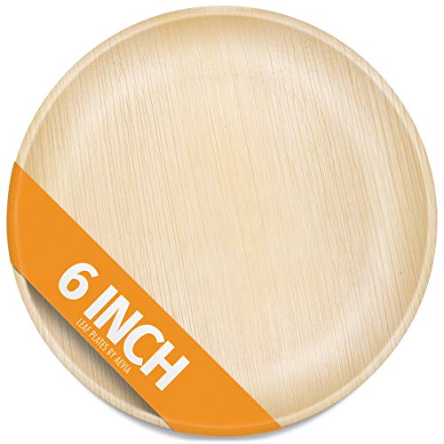 Aevia 6' Round Palm Leaf Plates. 25 Pack. Disposable, Compostable, and Eco-Friendly. Thick, Sturdy and Microwave Safe. Great for Parties, Weddings, BBQs and Special Events.