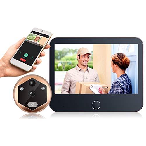 YOUCHOU Inalámbrico Wifi Video portero Timbres de la puerta de vídeo mirilla Visor de la puerta Bell seguridad del hogar WiFi Timbres cámara detección de movimiento