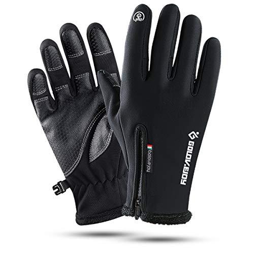 Neusky wasserdichter Touchscreen Handschuhe Winterhandschuhe Warme Handschuhe Sports Handschuhe Fahrradhandschuhe Laufhandschuhe für Damen und Herren (Schwarz, XXL)