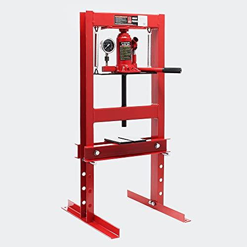 WilTec Presse d'atelier hydraulique avec Manomètre intégré Force de Pression 6T Estampage Pliage Atelier