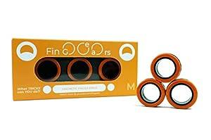 Original FinGears - Made in Europe - Magnetringe - Magnetic Rings - Fidget Spiel (M, Orange-Schwarz)
