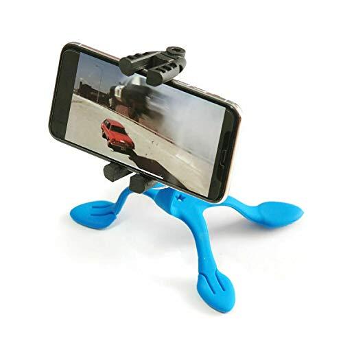 Miggo Splat 3N1 – Trípode Flexible y Compacto con 3 monturas para Smartphones y cámaras, 5 Patas metálicas recubiertas con Silicona – Azul