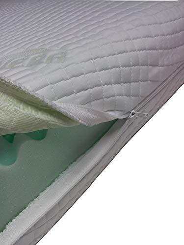 Mail2Mail - Coprimaterasso ipoallergenico con 4 zip laterali, dotato di sistema Aloevera Easy Clean, disponibile in tutte le misure e altezze, ideale per proteggere il materasso, pelle, 160 x 200 cm