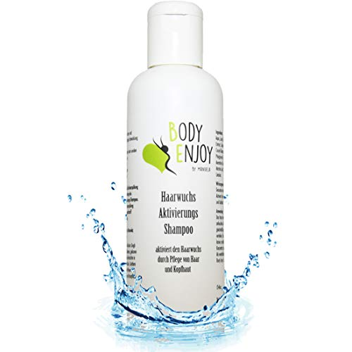 Body-Enjoy Haarshampoo, Shampoo-gegen-Haarausfall, Haarwachstum-beschleunigen 100% Naturkosmetik, Aktivierung der Haarwurzeln, Haarwuchsmittel, Anti Schuppen, Damen & Herren, Ohne Silikon 200ml