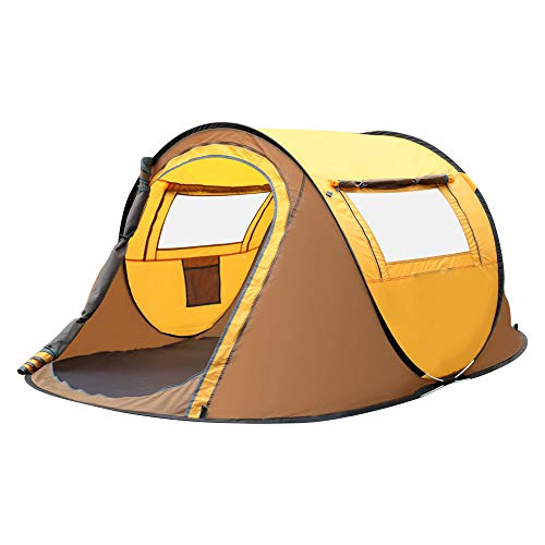 Instant popup Tent for Camping | 2 Person Lightweight Tent 1 Second Setup | Outing Party 4 Seasons Outdoor Tent (Yellow)