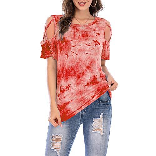 SLYZ Mujeres Europeas Y Americanas Verano Manga Corta Personalidad Moda Tie-Dye Manga Corta Cuello Redondo Camiseta Top