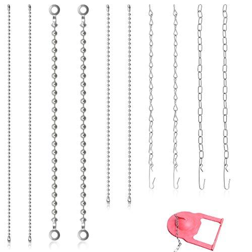 """LeonBach 10 Pcs Toilet Chain Replacement Kit, Small Chains Beaded Chain Ringed Chain Toilet Lever Chain, 9"""" & 11"""""""