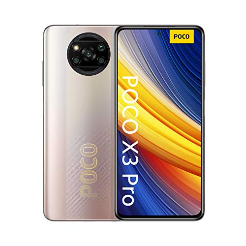 POCO X3 Pro -  Smartphone 6+128 GB,  6, 67# 120 Hz FHD+ DotDisplay,  Snapdragon 860,  cámara cuádruple de 48 MP,  5160 mAh,  Bronce Metálico (versión ES/PT),  incluye auriculares Mi