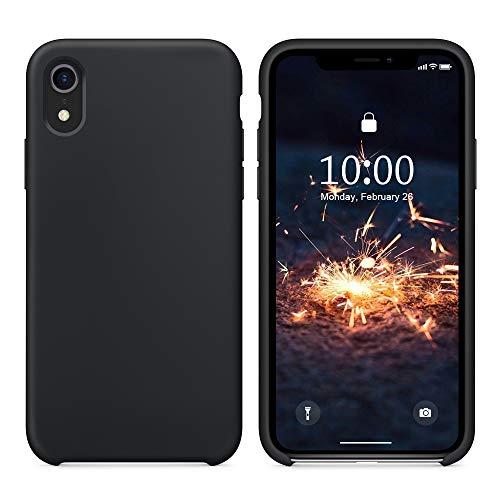 SURPHY Funda Silicona para iPhone XR, Carcasa con Superfino Pelusa Forro, Funda para Silicona Teléfono Anti-rañazos de 6.1 Pulgadas para iPhone XR, Negro