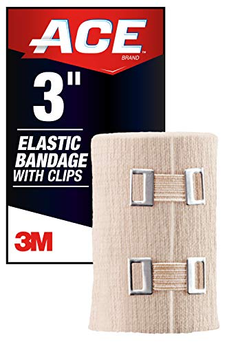 ACE 3 Inch Elastic Bandage with Clips, Beige, Great for Elbow, Ankle, Knee and More, Ideal for Sports, Comfortable design with soft feel, Wash and Reuse