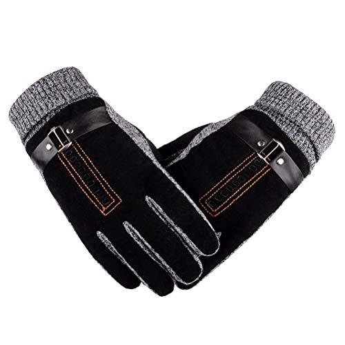 VORCOOL Gants en Cuir d'hiver épais Chauds Polaires Coupe-Vent Gants Preuve Froide Gant de Mitaines Thermique pour la Conduite à vélo