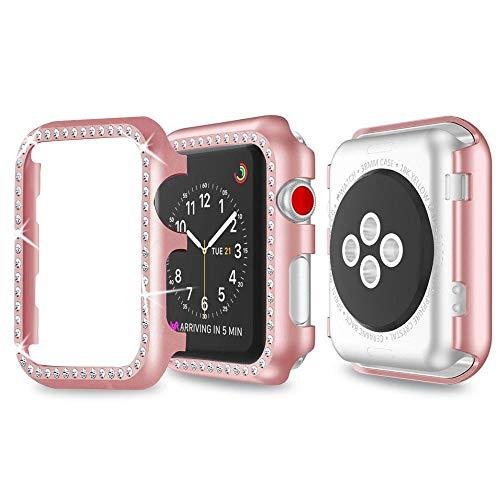 Aottom Schutzhülle für Apple Watch, 42 mm, für Apple Watch Serie 1/2/3, Aluminiumlegierung, Strasssteine, Glitzer-Rahmen, Schutzhülle für 42 mm Apple iWatch Serie 1/2/3