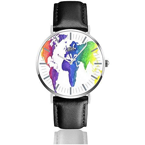 Acquerello Mappa del Mondo Stampa Terra nei Colori dell'arcobaleno Mano Orologio da uomo 'S Minimalista' Unisex, cassa dell'orologio in Acciaio inossidabile argentato, cinturino in Pelle, per Donna