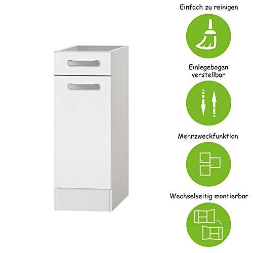 MMR Unterschrank Küche DALLAS, ohne Arbeitsplatte, 1-türig, 30 cm breit, wechselseitig montierbare Tür, Weiß