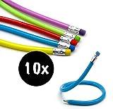 L+H 10x Biegbare Bleistifte in Premium Qualität | Flexible biegsame Bleistifte | Bunte Biegebleistifte | ideal für den Kindergeburtstag als Mitgebsel...